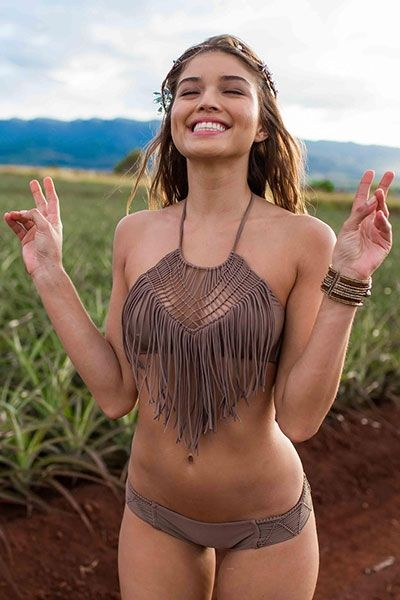 Heart of a Hippie Weave Fringed Bikini #Love