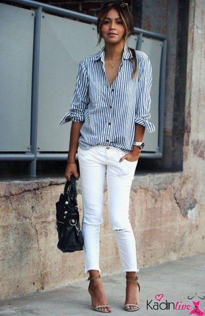 Cizgili Uzun Kollu Gomlek Ve Beyaz Jean Kombinleri Kadinlive Com Ilkbahar Giysileri Rahat Siklik Kadin Olmak