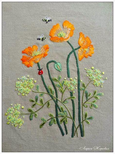 Very pretty poppy embroidery! Atelier créatif Larissa Zhernovoy. Coquelicots