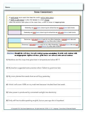 Preview Image For Worksheet With Title Tense Consistency With