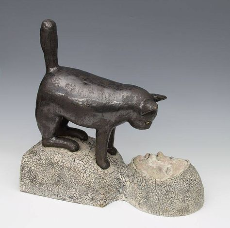 ancient style vessel Green pottery cat ceramic lioness sculpture gray-green feline decor catlover gift made in Australia