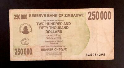 Zimbabwe 250 000 250000 Dollars Bearer Cheque 2007 P 50 World Currency Ebay In 2020 Bearer Cheque Dollar Banknote Money Notes
