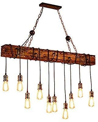 Ladiqi 10 Lights Wooden Island Chandelier Retro Rustic Pendant Lighting Lamp Multiple Adjustable H Linear Light Fixture Rustic Pendant Lighting Linear Lighting