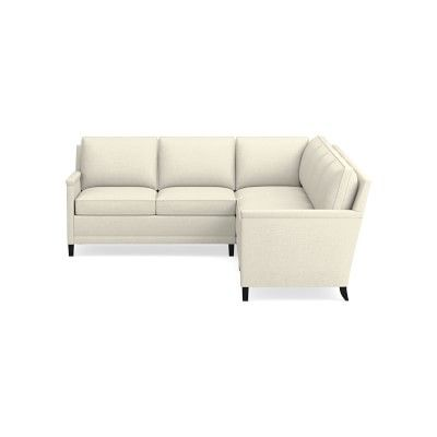 Addison Sectional Left 2 Piece L Shape Sofa With Chaise No Nailhead Down Cushion Laundered Belgian Linen Optic White L Shaped Sofa Sofa Love Seat