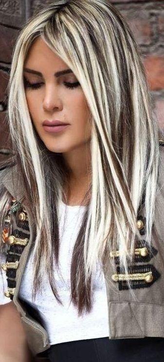 48 Beautiful Platinum Blonde Hair Colors For Summer 2019 Platinum Dark Brown Hair With Blonde Highlights Brown Hair With Blonde Highlights Brunette Hair Color