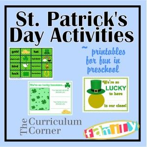 St. Patrick's Day Activities for preschool & daycare teachers. Great freebies including a matching game and bulletin board ideas for displaying pictures. Free from www.thecurriculumcornerfamily.com.