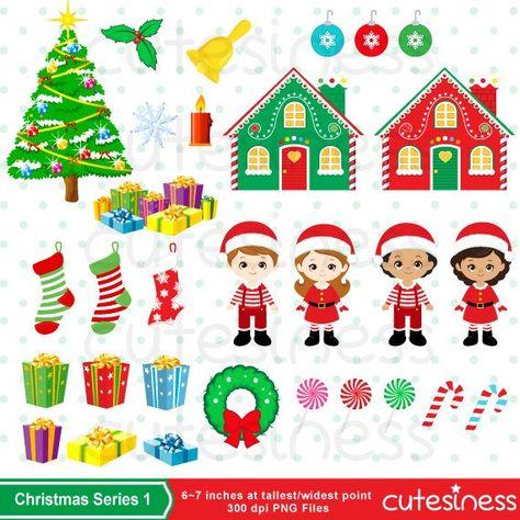 christmas clipart set clip art set of santa wreath holly