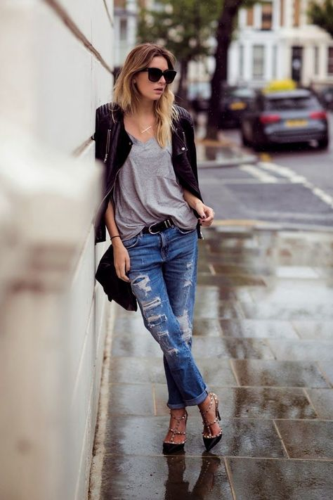 @roressclothes closet ideas #women fashion outfit #clothing style apparel Ripped Jeans and T-strap Heels