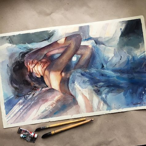 +17 A Self-Taught Artist Creates Sensitive Watercolors That Show the Mystery of a Woman's S...