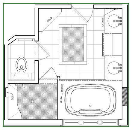 Excellent Idea On Small Wide Bathroom Floor Plans With Tub Designs