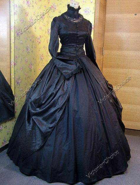 Victorian Choice Black Regal Gothic Gown Dress Theatrical Steampunk Clothing 156