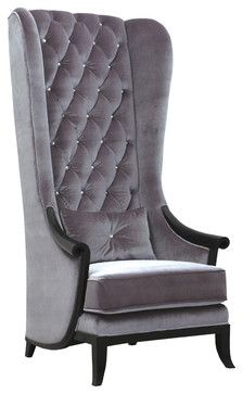 Very Velvet Blofeld Platinum Porter\'s Chair - contemporary - chairs ...