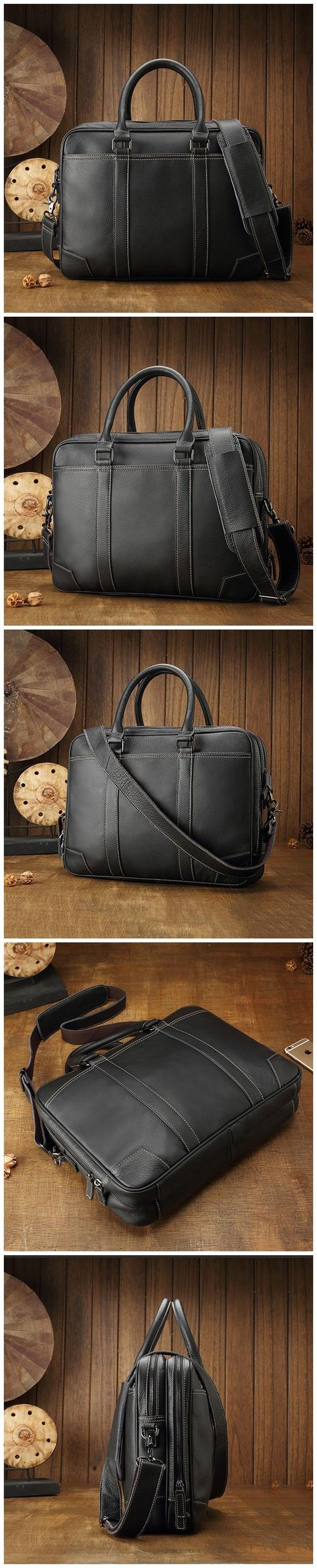 ad36cf8ba Handmade Men Briefcase Full Grain Leather Messenger Bag Laptop Bag JD538