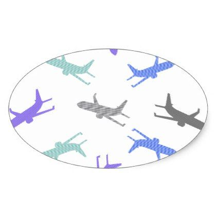 Airplane Pattern Blue Gray And Black Oval Sticker Christmas