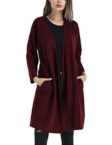 2129ab001 Pull Long Élégant Femme Mode Cardigan Automne Courte Manteau Poches ...