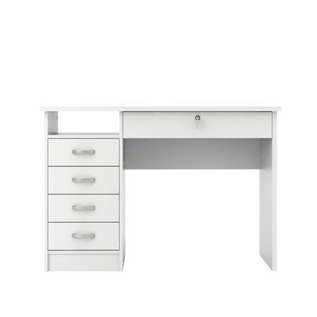 Tvilum Modern Walden Desk With 5 Drawers White Finish Walmart Com Cheap Office Furniture Furniture White Desk With Drawers
