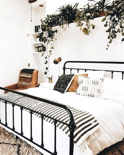 Bed Frame Black On White Linens And Greenery Minimalistbedroom