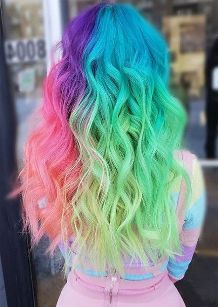 20 Ideas Nails Tumblr Simple Colour Hair Styles Rainbow Hair Color Cool Hair Color