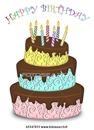 clipart - joyeux anniversaire, trois, couche, rigolote, gâteau, à