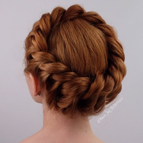 20 Halo Braid Ideas to Try in 2019 Formal Crown Braid Updo Braided Hairstyles For Teens, Teen Hairstyles, Box Braids Hairstyles, Trending Hairstyles, Updo Hairstyle, Hairstyle Tutorials, Celebrity Hairstyles, Hairstyle Ideas, Dreadlock Hairstyles