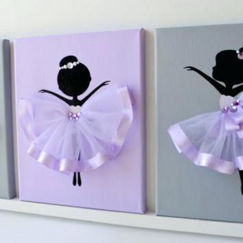Lavender Nursery Decor Dancing Ballerinas Wall