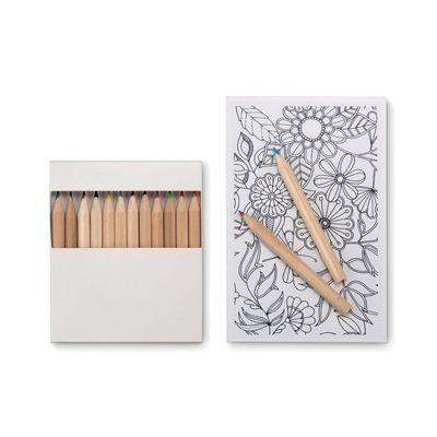 #Set #promotional de #colorat pentru adulti cu 10 planse si 12 creioane colorate. Setul poate fi #personalizat cu #logo-ul dvs pentru a realiza un #cadou promotional deosebit si din ce in ce mai la moda.