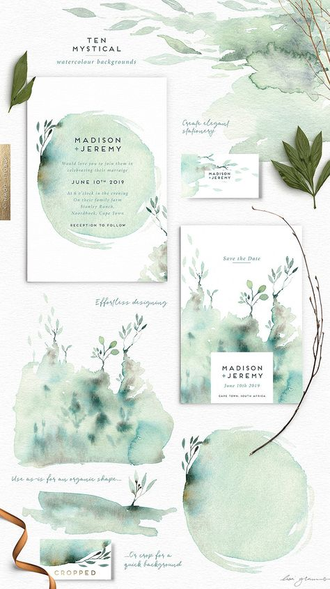 Enchanted Encounter watercolour set by Lisa Glanz. A versatile watercolour set brimming with unique shapes, backgrounds and floral elements. A perfect set for wedding stationery, branding, decor items, nursery art