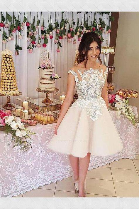 Homecoming Dresses Cheap, Homecoming Dresses With Appliques, A-Line Homecoming Dresses, Homecoming Dress #Homecoming #Dress #Dresses #Cheap #With #Appliques #ALine Homecoming Dresses 2019
