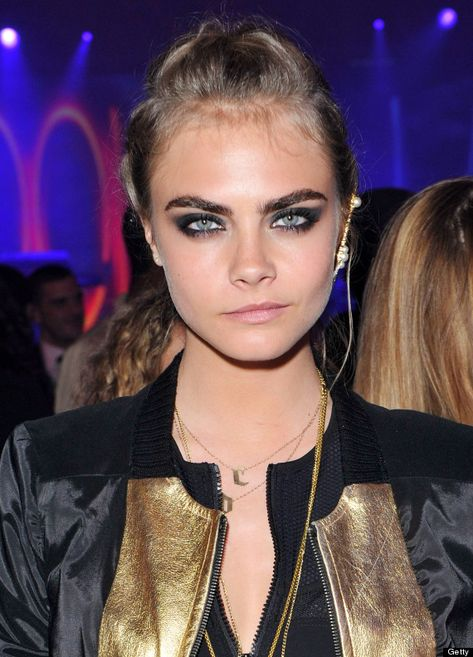 Cara Delevingne, make-up by Lisa Eldridge. Smokey eye and nude lip.