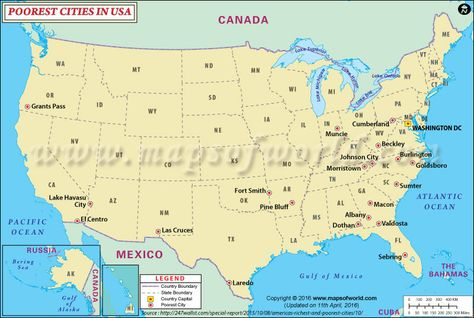 Poorest Cities in USA   United states map, City, State map