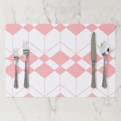 Abstract Geometric Pattern Pink And White Paper Placemat Christmas Paper Placemats Abstract Geometric Pattern