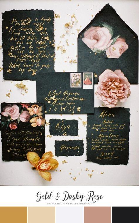 Gold  Dusky Rose Wedding Colour Palette
