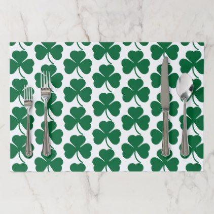 Dark Green St Patrick S Day Shamrocks Tear Away Paper Placemat Zazzle Com Placemats St Patrick S Day Shamrocks