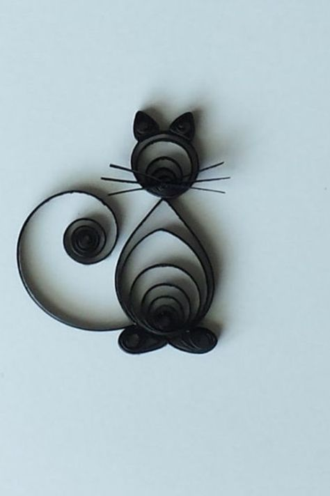 Quilled Paper Greeting Card Black Cat on White A2 Card with | Etsy