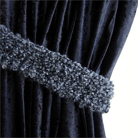 Thick Fluffy And Soft Black And Gray Curtain Tiebacks One Pair 22 Long X 2 5 Wide X 1 2 Thi Grey Curtain Tiebacks Dark Grey Curtains Black Curtain Tiebacks