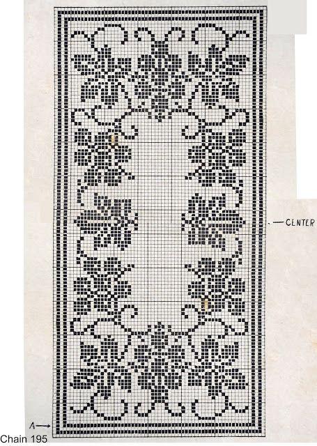 Grapevine Runner 1938 Vintage Filet Crochet Pattern free
