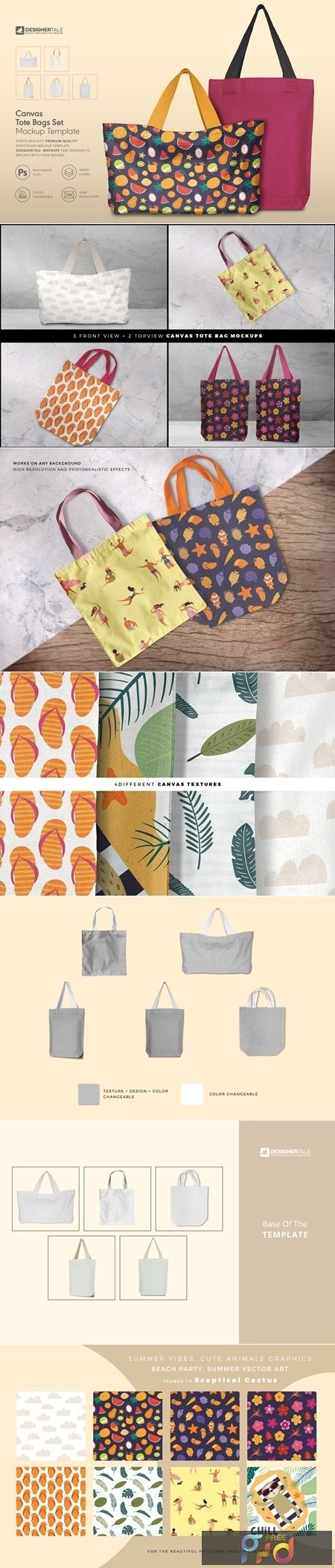 Download Tote Bag Mockup Set 4125819 Freepsdvn Bag Mockup Free Photoshop Actions Tote Bag