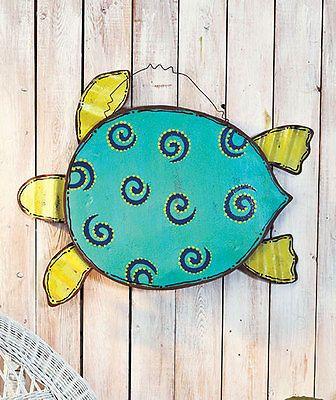 Beach Themed Metal Wall Art Hanging Sea Turtle Patio Living Room