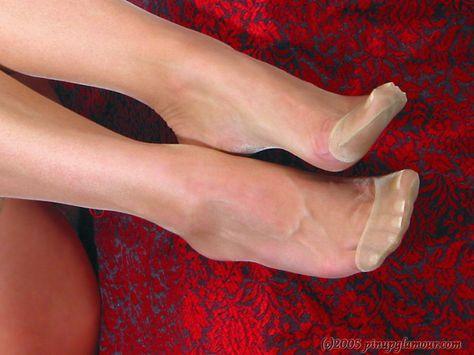 Feet in Reinforced Toe Stockings