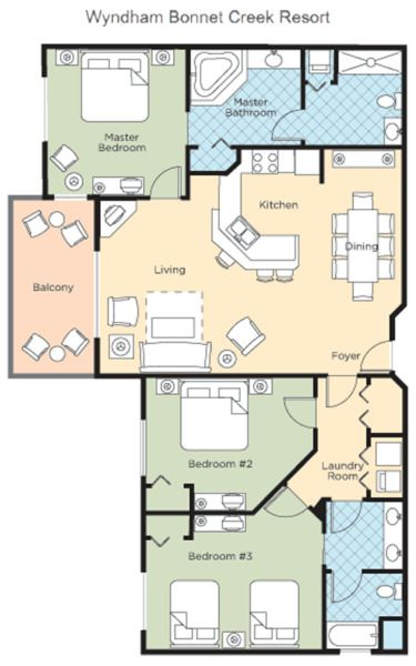 Bonnet Creek Orlando Fl Vacation Wyndham Disney World 3 Bedroom Mar 315 To 320 In 2020 Bedroom Floor Plans Orlando Fl Vacation Bonnet Creek