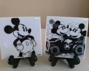 Two toned mickey design love heart trinket dish Lockdown gift. Mickey style coaster Best friend gift Mothers day gift