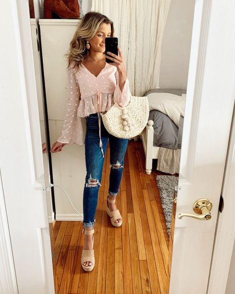 A pink polka dot top from SheIn, jeans, and a straw bag are the perfect spring outfit idea. For more outfit inspiration check out this blog post. #springoutfits #springfashion #strawbag #shein