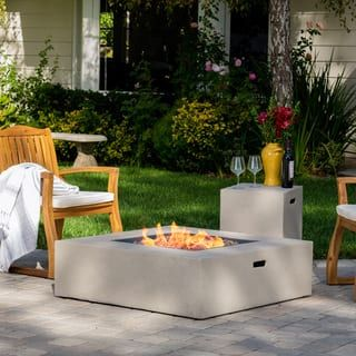 Santos Outdoor 40 Inch Square Propane Fire Pit Table W Tank Holder By Christopher Knight Home With Images Gas Fire Pit Table Propane Fire Pit Table Gas Fire Pits Outdoor