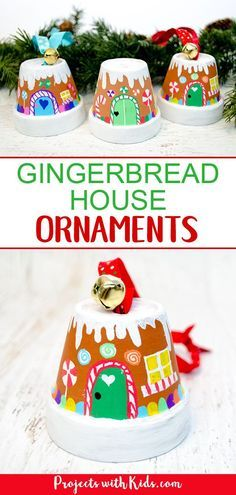 Transform mini terra cotta pots into the sweetest gingerbread house ornaments! Kids will love making this adorable Christmas craft to hang on the tree or give as a special gift. #gingerbreadhouse #handmadeornaments #kidschristmas #projectswithkids