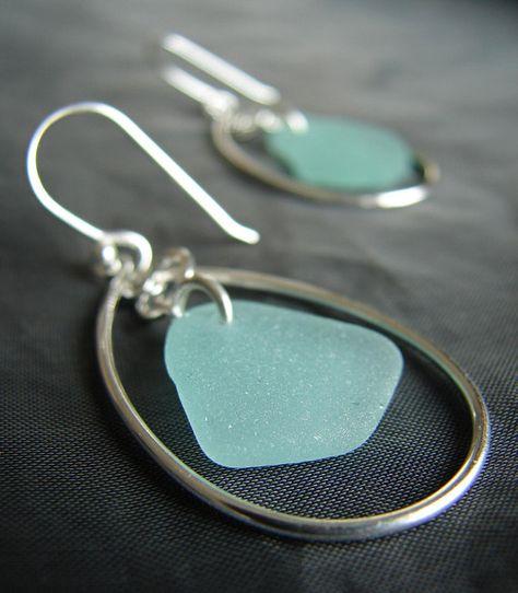 Sea glass earrings / beach glass jewelry / seaglass hoops /