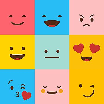Colorful Square Emojis Set Vector Square Icons Emoji Set Png And Vector With Transparent Background For Free Download Emoji Graphic Design Background Templates Emoji Images