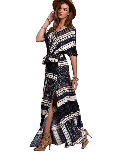 116737eb39 Multicolor Vacation Boho Rayon V Neck Short Sleeve A Line Maxi Print YES  Fabric has no stretch Summer Wrap Dresses, Type: Wrap Sleeve Length: Short  Sleeve ...