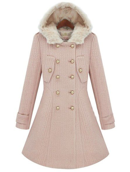 Pink Fur Hooded Long Sleeve Buttons Coat US$66.56