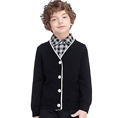 GAZIAR Boys Girls Sweater V-Neck Button Up School Uniform Cardigan with Pockets