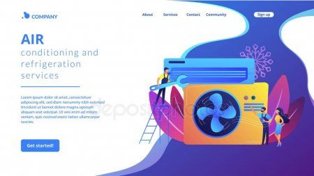 Air Conditioning And Refrigeration Services Concept Landing Page